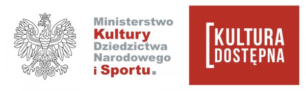 """Logo """"Ministerstwo Kultury Dziedzictwa Narodowego i Sportu"""" oraz logo """"Kultura Dostępna"""""""
